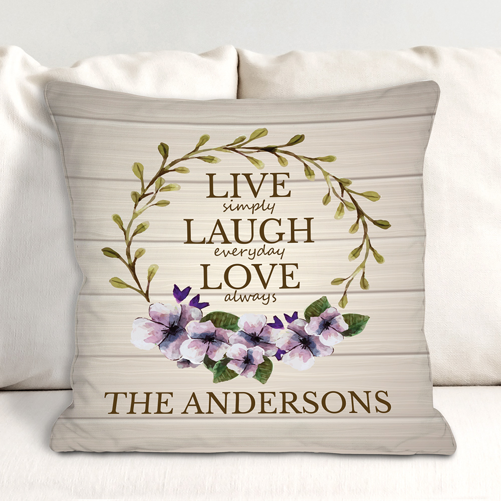 Personalized Live Love Throw Pillow | Live Laugh Love Pillows