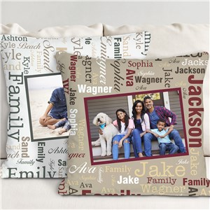 Personalized Memories Word-Art Throw Pillow | Photo Pillows