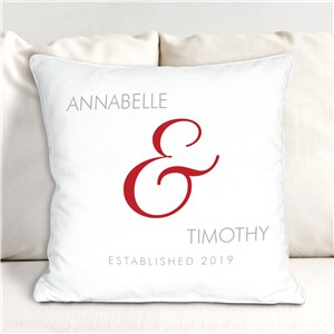 Personalized Couples Established Throw Pillow | Personalized Valentine Throw Pillows