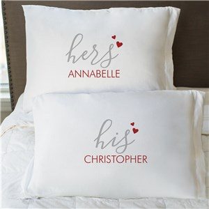 Personalized His and Hers Couples Pillowcase Set | Personalized Pillow Cases For Valentine's Day