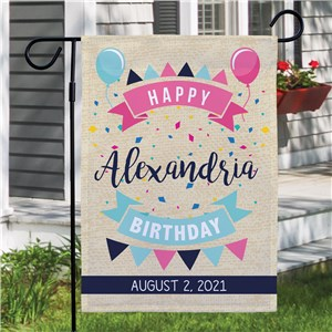 Personalized Banner Happy Birthday Garden Flag | Personalized Garden Flag