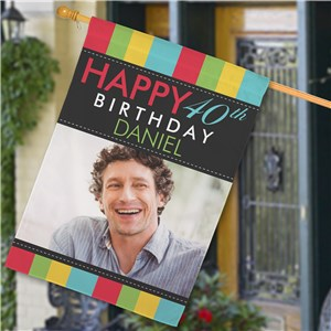 Personalized Photo Birthday House Flag | Personalized Happy Birthday Flags