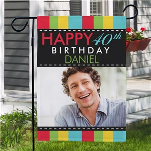 Personalized Photo Birthday Garden Flag | Personalized Happy Birthday Flags