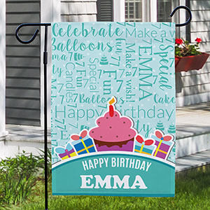 Personalized Birthday Cupcake Word-Art Garden Flag | Personalized Birthday Garden Flags