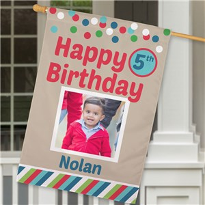 Personalized Birthday Celebration Photo House Flag | Personalized Birthday Flags