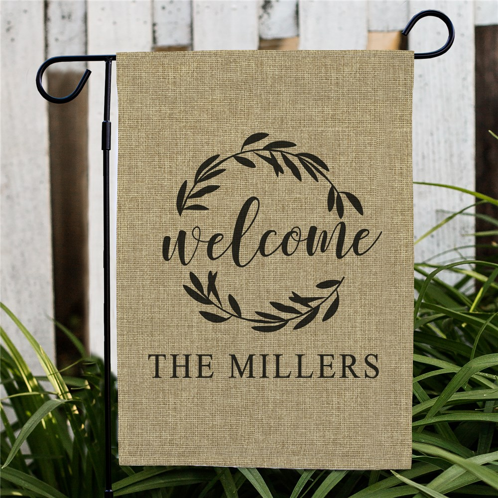 Personalized Wreath Welcome Burlap Garden Flag | Personalized Garden Flags