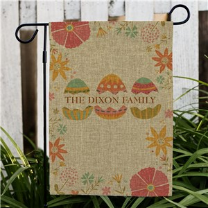 Personalized Easter Eggs Burlap Garden Flag | Easter Garden Flags