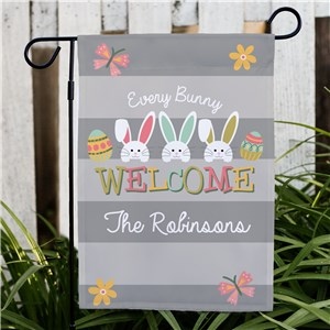 Personalized Every Bunny Welcome Garden Flag | Personalized Spring House Flags