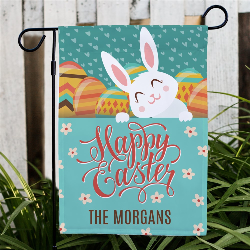 Personalized Happy Easter with Bunny Garden Flag | Personalized Garden Flags