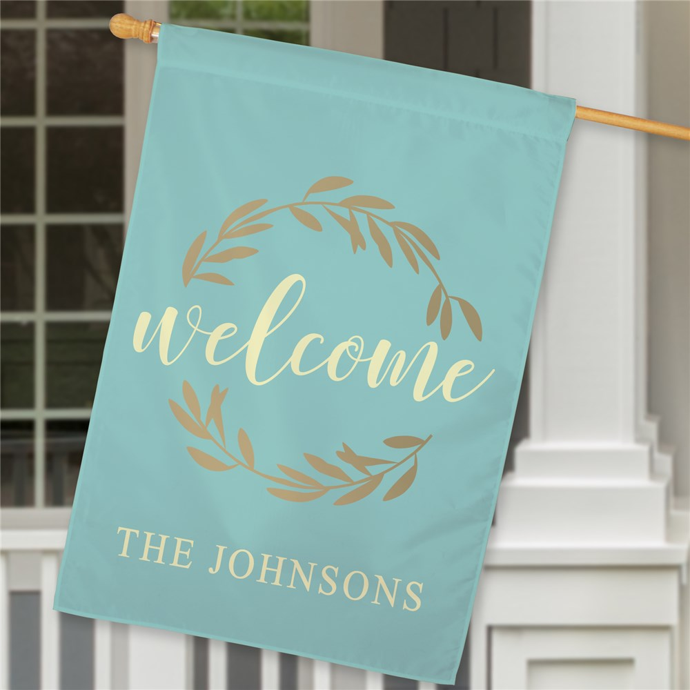 Personalized Welcome Wreath House Flag | Personalized House Flag
