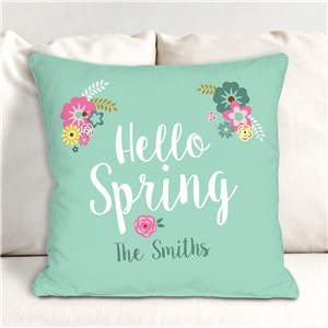 Personalized Hello Spring Throw Pillow | Personalized Spring Throw Pillows