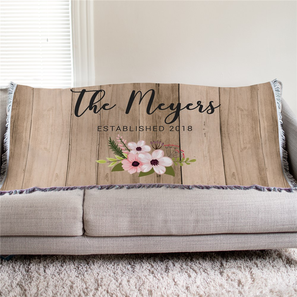 Personalized Floral Pallet Tapestry Throw | Personalized Throw Blankets
