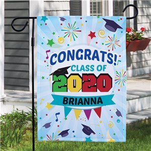 Personalized Congrats Fireworks Garden Flag | Personalized Garden Flags