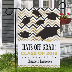 Personalized Hats Off Grad Garden Flag | Personalized Garden Flags