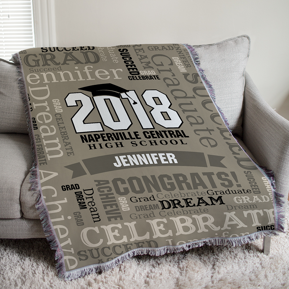 Personalized Graduation Word-Art Tapestry Throw | Personalized Graduation Throw Blankets