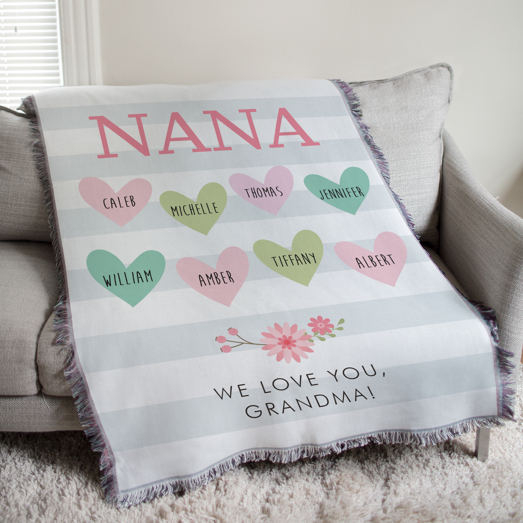 Personalized Nana Floral Stripe Tapestry Throw | Personalized Blankets
