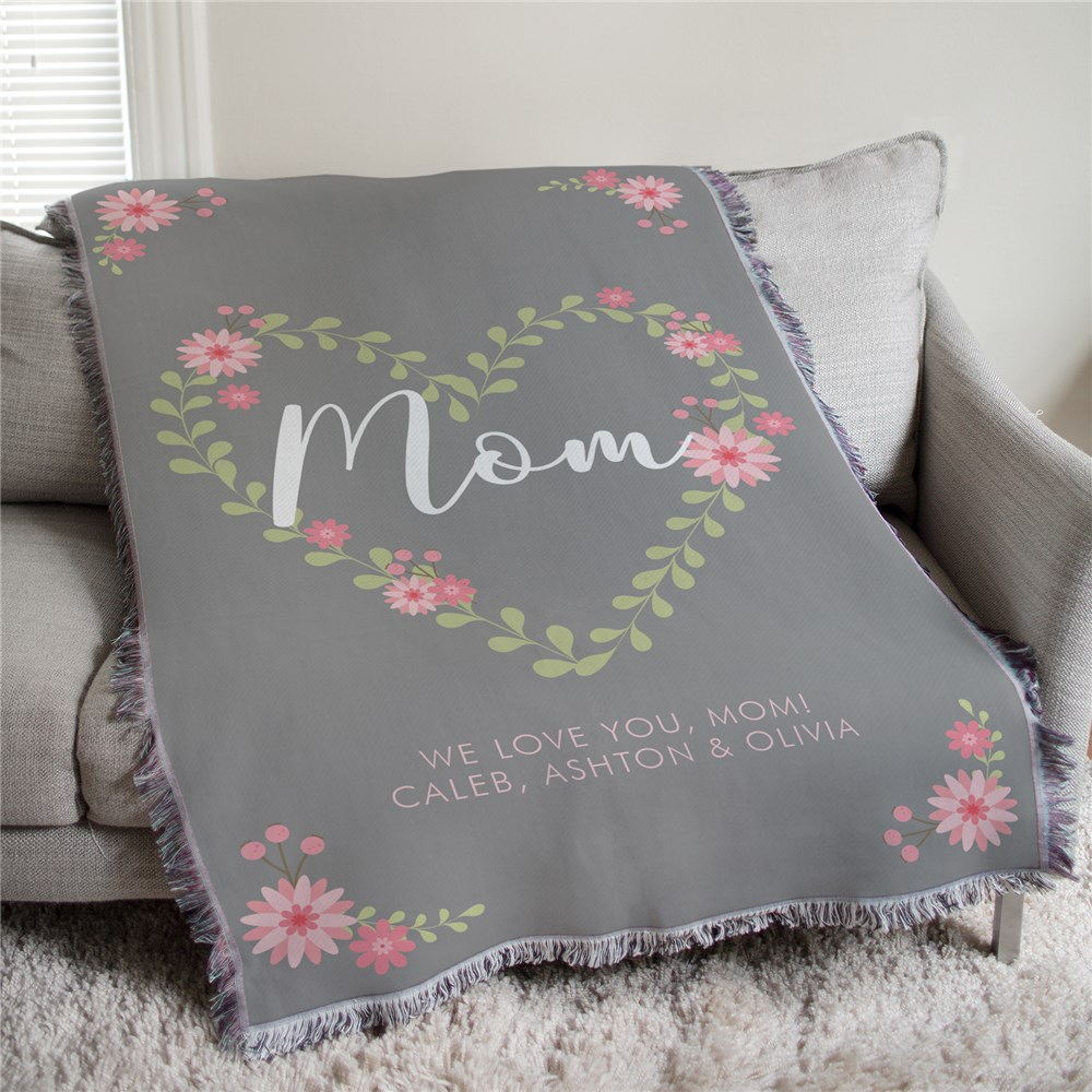 Personalized Mom Floral Heart Tapestry Throw | Personalized Mother's Day Gifts