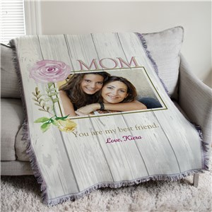Personalized Mom Best Friend Photo Tapestry Throw | Personalized Gifts For Mom