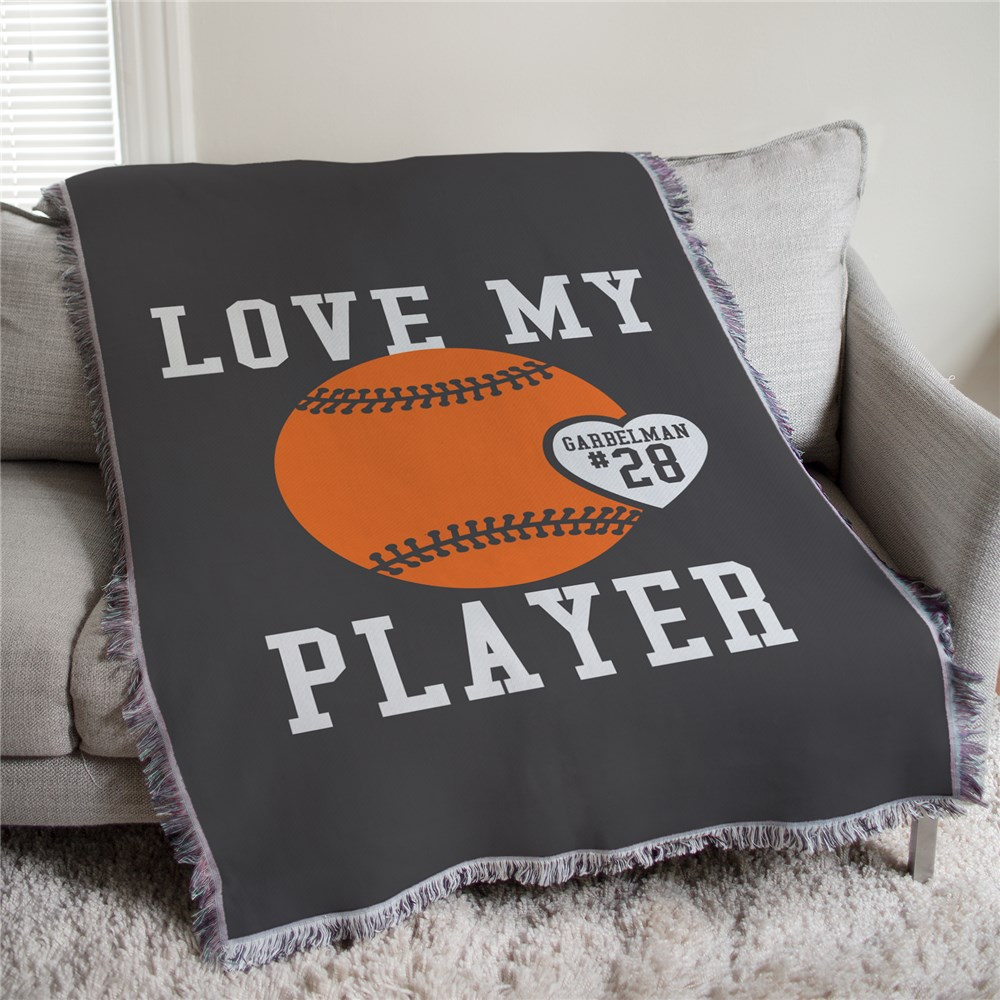 Personalized Love My Sports Player Tapestry Throw | Personalized Sports Gifts