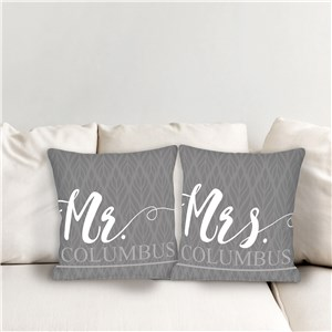 Personalized Mr and Mrs Throw Pillow Set | Personalized Wedding Gifts
