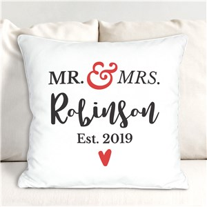 Personalized Mr and Mrs Established Throw Pillow | Personalized Wedding Gifts