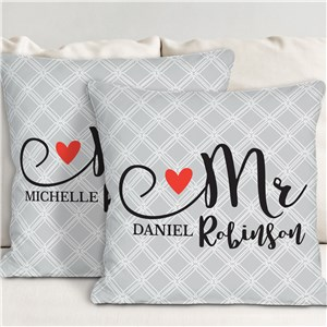 Personalized Mr and Mrs Heart Throw Pillow Set | Personalized Wedding Pillows