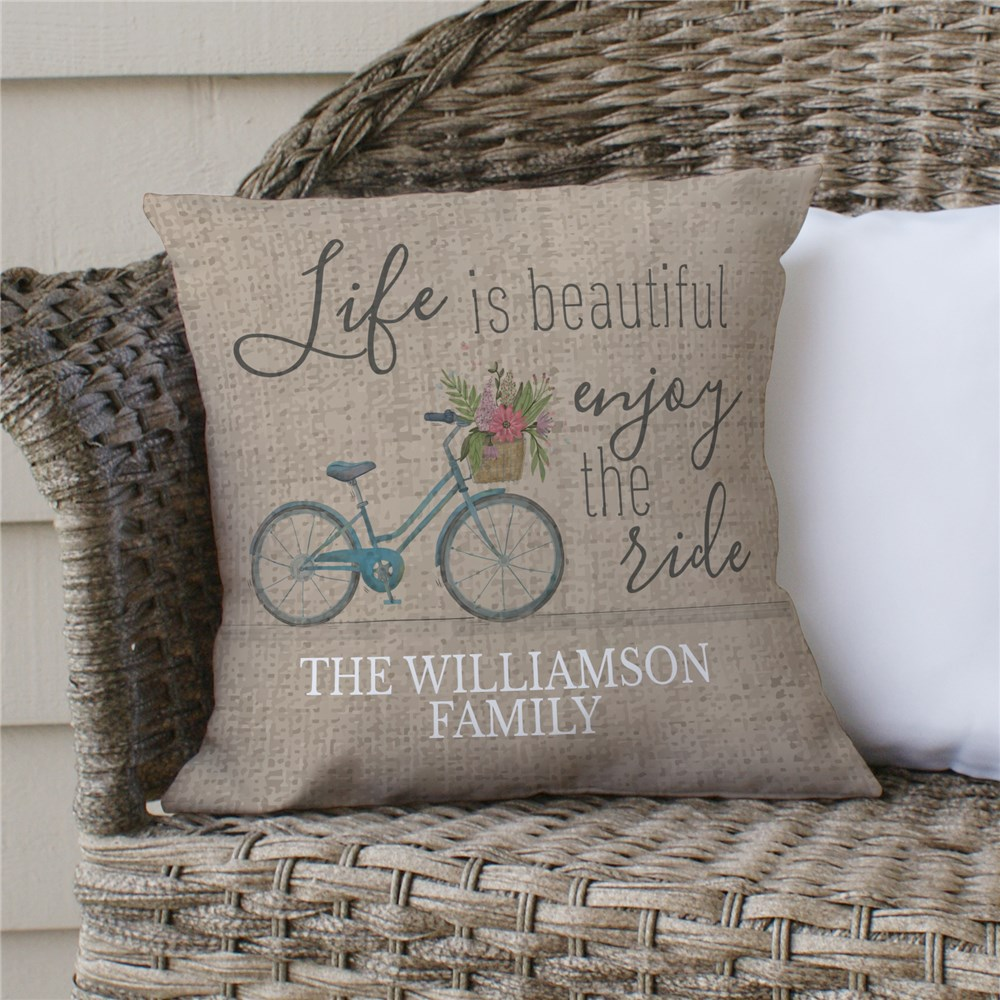 Life Is Beautiful Enjoy The Ride Personalized Throw Pillow | Personalized Throw Pillows