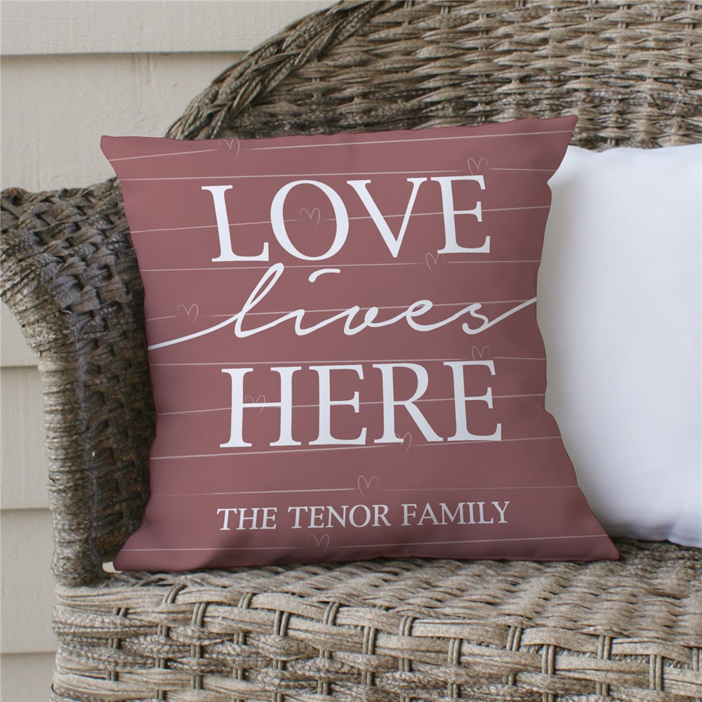 Love Lives Here Personalized Throw Pillow | Personalized Throw Pillows