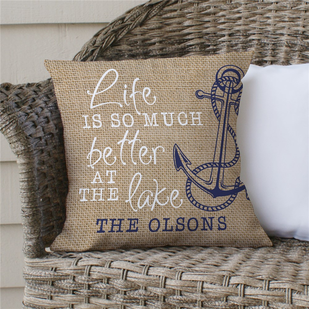 Personalized Life Is Better At The Lake Throw Pillow 830131983X