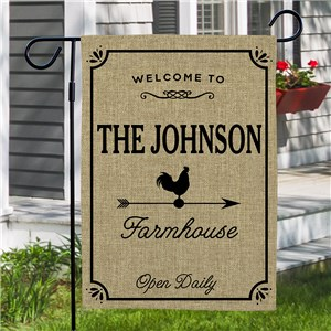 Personalized Family Name Farmhouse Burlap Garden Flag | Personalized Garden Flags