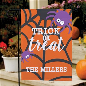 Halloween Flag Personalized | Orange Purple Spider Garden Flag