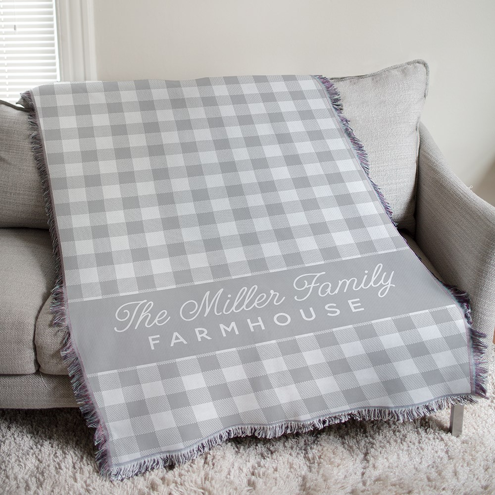 Personalized Farmhouse Plaid Tapestry Throw | Personalized Blankets