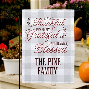 Thankful Grateful Blessed Personalized Garden Flag | Personalized Garden Flags