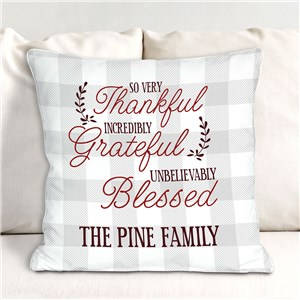 Thankful Grateful Blessed Personalized Throw Pillow | Personalized Throw Pillows