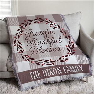 Grateful Thankful Blessed Tapestry Personalized Throw | Personalized Blankets