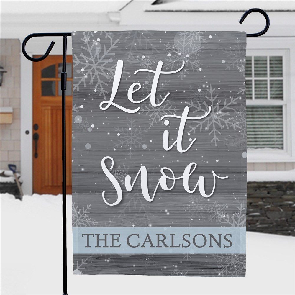 Let it Snow Flag With Name | Blue and White Let It Snow Garden Flag