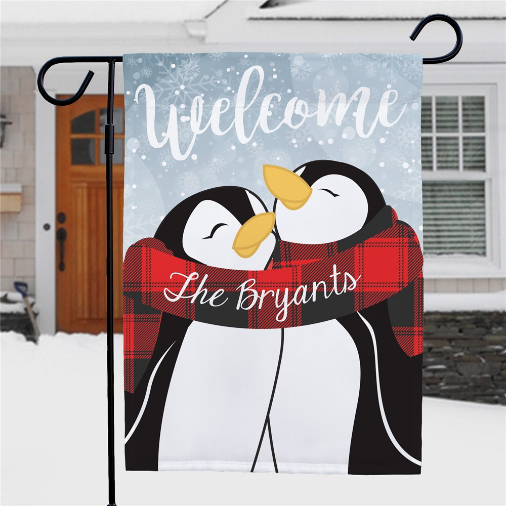 Personalized Welcome Hugging Penguin Couple Garden Flag | Winter Personalized Garden Flag