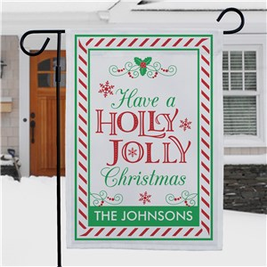 Personalized Striped Whimsical Holly Jolly Christmas Garden Flag | Personalized Garden Flag