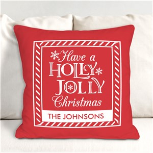 Striped Whimsical Holly Jolly Personalized Christmas Throw Pillow | Personalized Pillows
