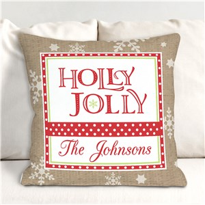 Holly Jolly Personalized Throw Pillow | Christmas Throw Pillows