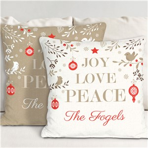 Joy Love Peace Personalized Throw Pillow | Christmas Throw Pillows