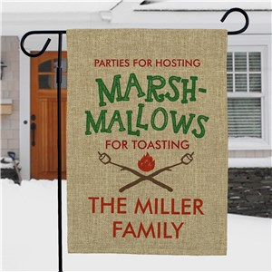 Personalized Marsh-Mallows For Toasting Burlap Garden Flag | Christmas Personalized Garden Flags