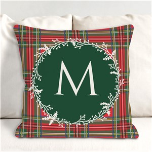 Tartan Plaid Wreath Initial Personalized Throw Pillow | Christmas Throw Pillows