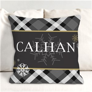 Personalized Dashing Through The Snow Plaid Throw Pillow | Personalized Throw Pillows