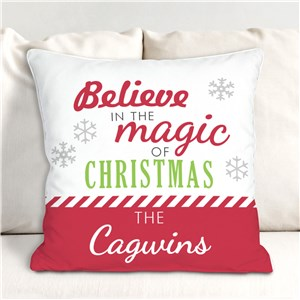 Personalized Believe In The Magic Of Christmas Throw Pillow | Personalized Throw Pillow