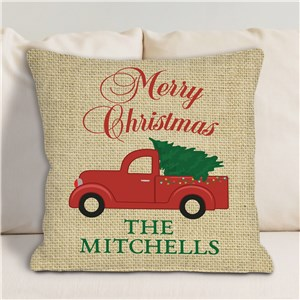 Red Christmas Truck Merry Christmas Or Happy Holidays Personalized Throw Pillow | Christmas Pillows