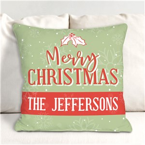 Retro Christmas Pillow | Vintage Christmas Throw Pillow With Name