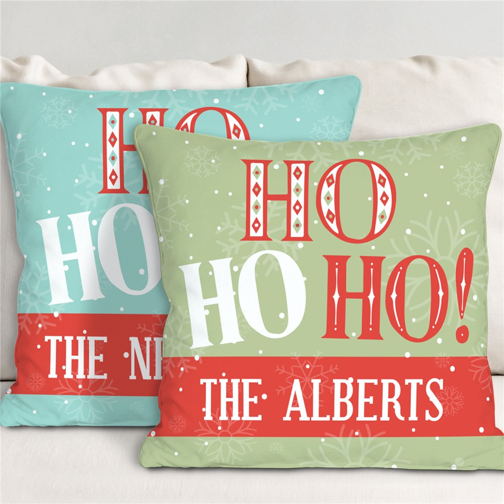 Ho Ho Ho Christmas Pillow With Name | Personalized Retro Christmas Pillows