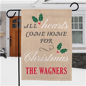 All Hearts Come Home For Christmas Personalized Garden Flag | Christmas Garden Flags