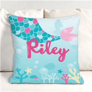 Mermaid Throw Pillow | Personalized Kids' Room Decor